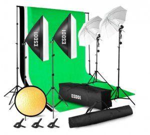 set-reflectores-tripode-fondo-verde