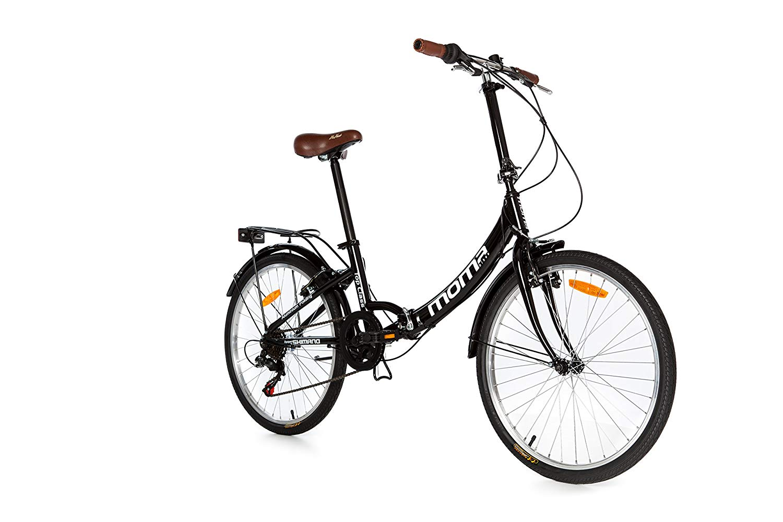 "Moma Bikes Bicicleta Plegable Urbana TOP CLASS 24"" Alu, SHIMANO 6V. Sillin Confort, Color Negro"